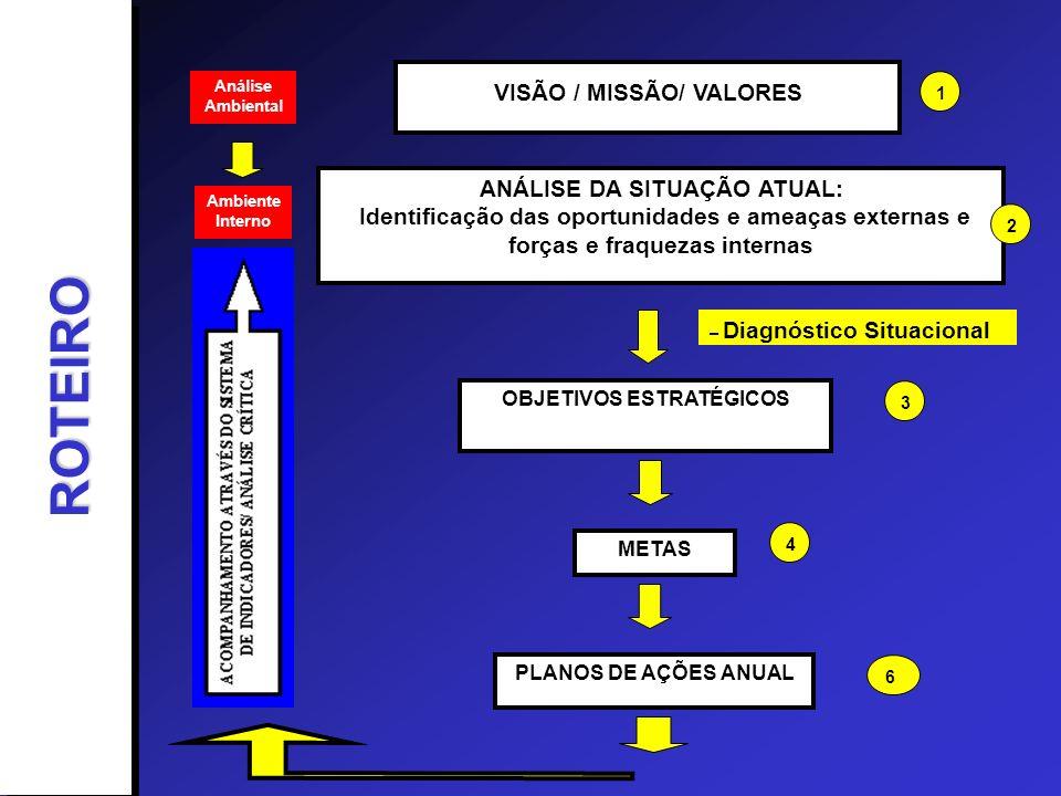 Análise Ambiental VISÃO / MISSÃO/ VALORES ANÁLISE DA SITUAÇÃO ATUAL: Identificação das oportunidades e ameaças externas e forças e fraquezas internas