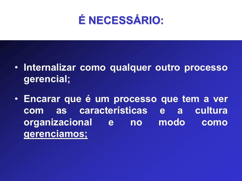 Internalizar como qualquer outro processo gerencial; Encarar que é um processo que tem a ver com as características e a cultura organizacional e no mo