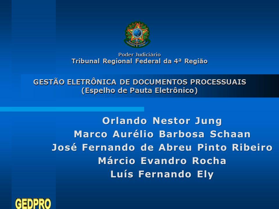 Poder Judiciário Tribunal Regional Federal da 4ª Região GESTÃO ELETRÔNICA DE DOCUMENTOS PROCESSUAIS (Espelho de Pauta Eletrônico) Orlando Nestor Jung
