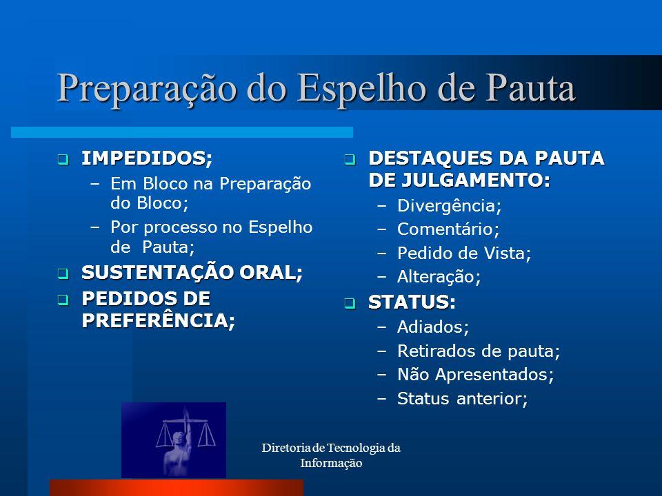 Preparação do Espelho de Pauta IMPEDIDOS IMPEDIDOS; –Em Bloco na Preparação do Bloco; –Por processo no Espelho de Pauta; SUSTENTAÇÃO ORAL SUSTENTAÇÃO