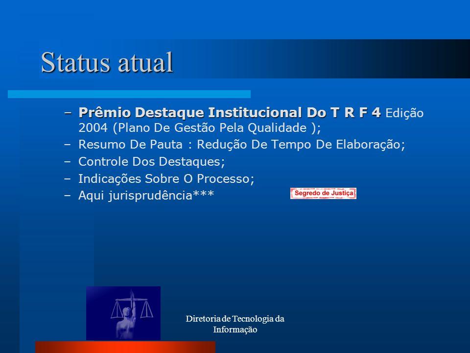 Diretoria de Tecnologia da Informação Status atual –Prêmio Destaque Institucional Do T R F 4 –Prêmio Destaque Institucional Do T R F 4 Edição 2004 (Pl