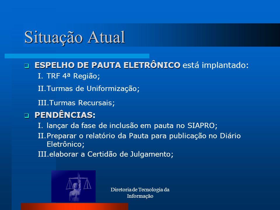 Diretoria de Tecnologia da Informação Situação Atual ESPELHO DE PAUTA ELETRÔNICO ESPELHO DE PAUTA ELETRÔNICO está implantado: I.TRF 4ª Região; II.Turm