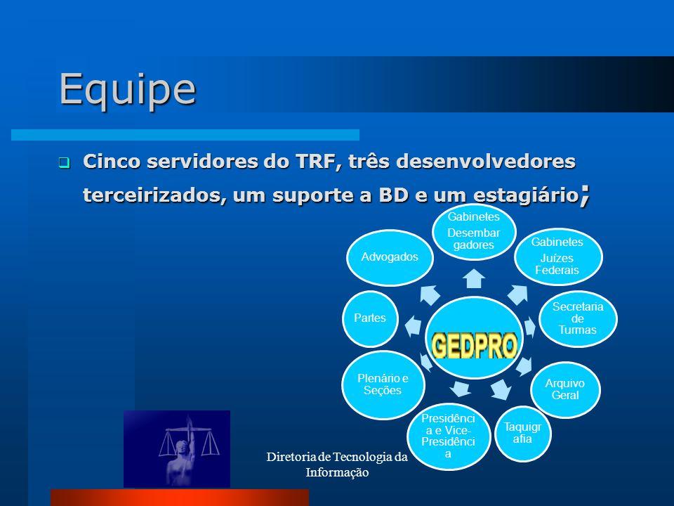 Diretoria de Tecnologia da Informação Equipe Cinco servidores do TRF, três desenvolvedores terceirizados, um suporte a BD e um estagiário ; Cinco serv