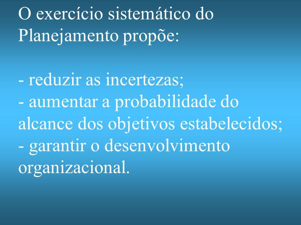 O exercício sistemático do Planejamento propõe: - reduzir as incertezas; - aumentar a probabilidade do alcance dos objetivos estabelecidos; - garantir