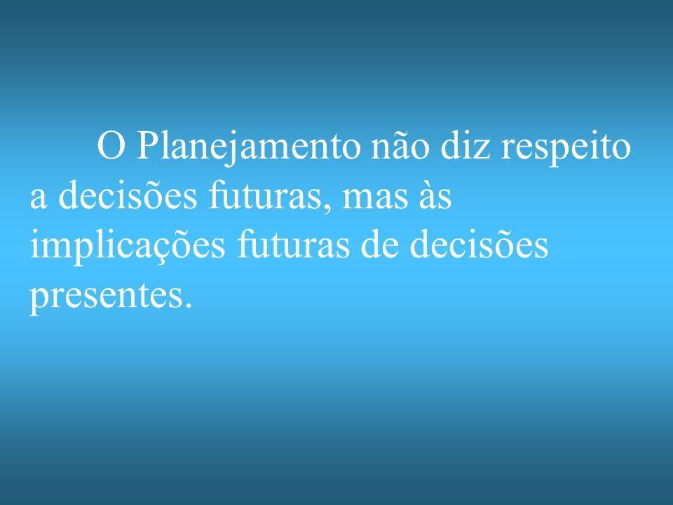 O Planejamento não diz respeito a decisões futuras, mas às implicações futuras de decisões presentes.