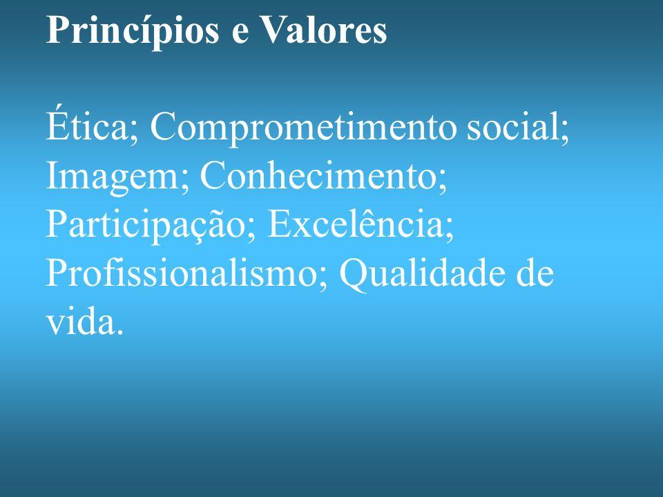 Princípios e Valores Ética; Comprometimento social; Imagem; Conhecimento; Participação; Excelência; Profissionalismo; Qualidade de vida.
