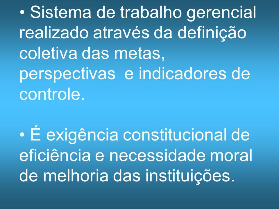 Sistema de trabalho gerencial realizado através da definição coletiva das metas, perspectivas e indicadores de controle. É exigência constitucional de