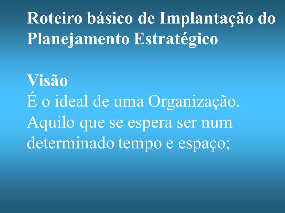 Roteiro básico de Implantação do Planejamento Estratégico Visão É o ideal de uma Organização. Aquilo que se espera ser num determinado tempo e espaço;