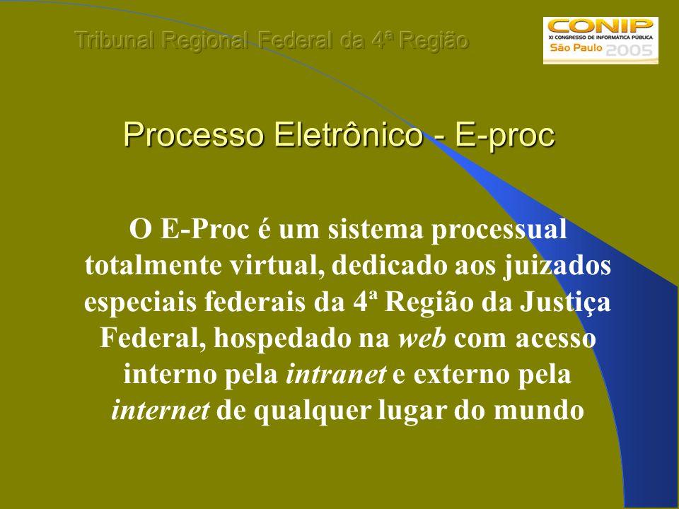 Processo Eletrônico - E-proc O E-Proc é um sistema processual totalmente virtual, dedicado aos juizados especiais federais da 4ª Região da Justiça Fed