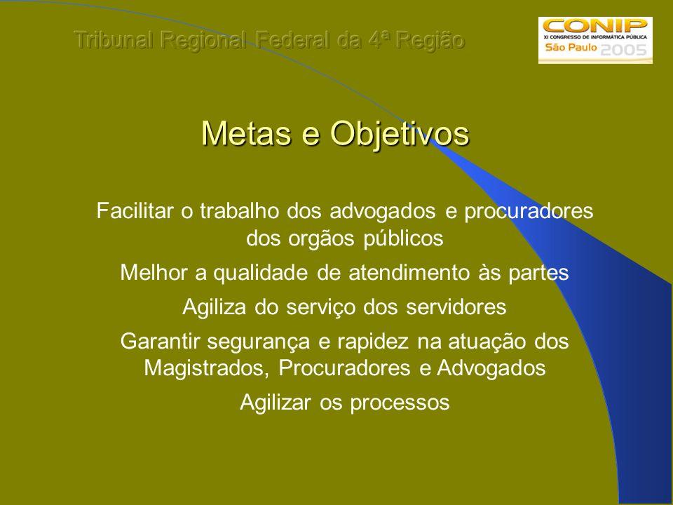 Metas e Objetivos Facilitar o trabalho dos advogados e procuradores dos orgãos públicos Melhor a qualidade de atendimento às partes Agiliza do serviço