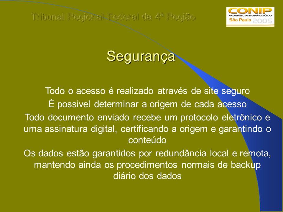 Segurança Todo o acesso é realizado através de site seguro É possivel determinar a origem de cada acesso Todo documento enviado recebe um protocolo el