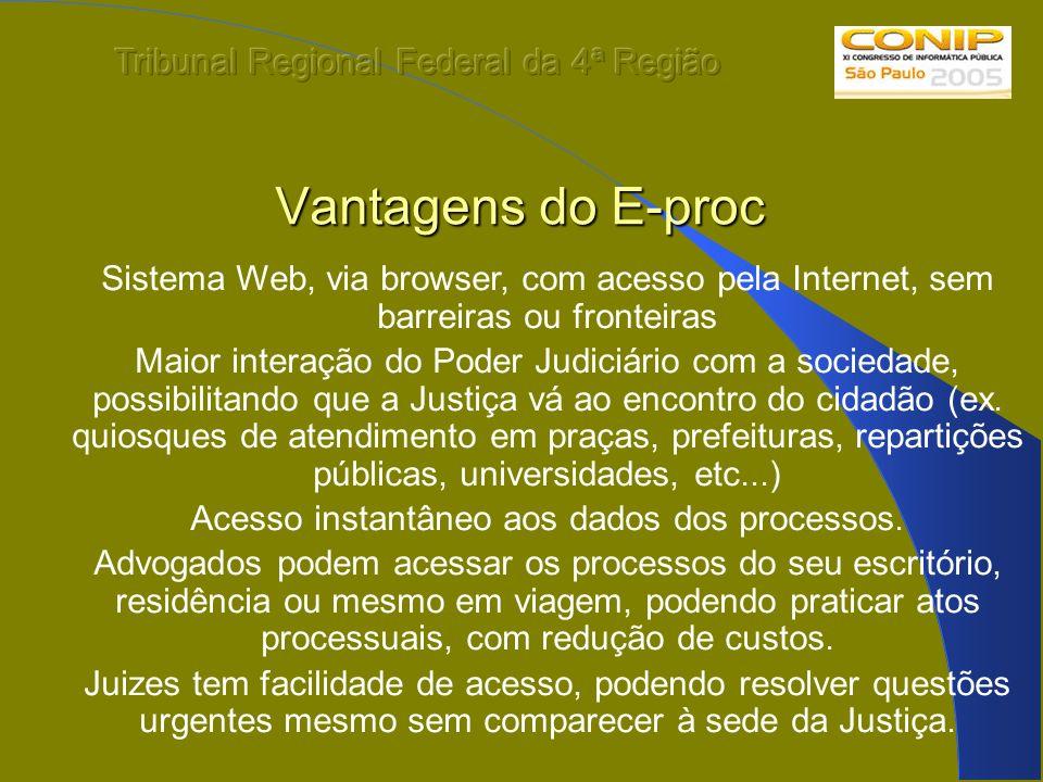 Vantagens do E-proc Sistema Web, via browser, com acesso pela Internet, sem barreiras ou fronteiras Maior interação do Poder Judiciário com a sociedad