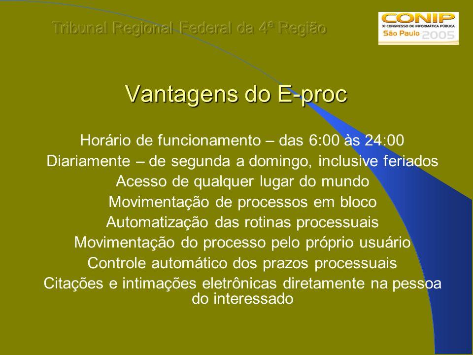 Vantagens do E-proc Horário de funcionamento – das 6:00 às 24:00 Diariamente – de segunda a domingo, inclusive feriados Acesso de qualquer lugar do mu