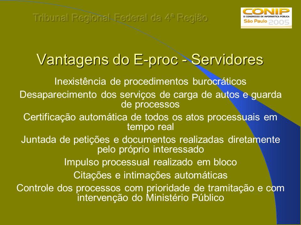 Vantagens do E-proc - Servidores Inexistência de procedimentos burocráticos Desaparecimento dos serviços de carga de autos e guarda de processos Certi