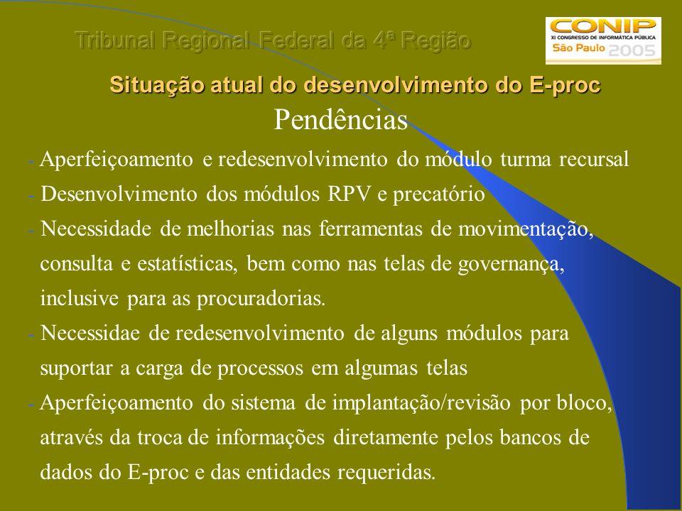 Situação atual do desenvolvimento do E-proc Situação atual do desenvolvimento do E-proc Pendências - Aperfeiçoamento e redesenvolvimento do módulo tur