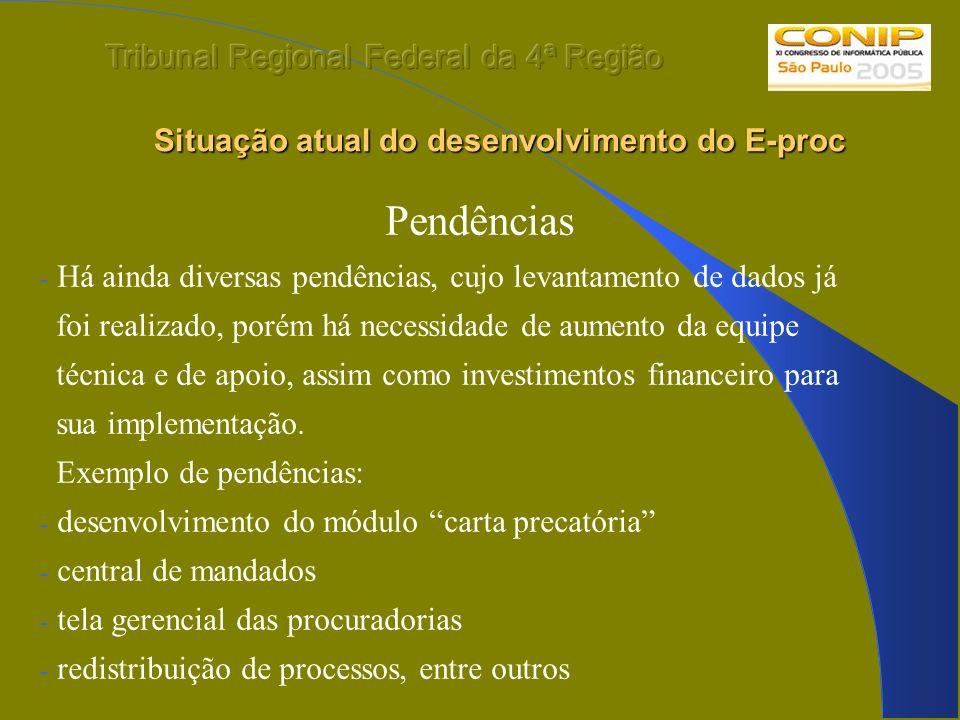 Situação atual do desenvolvimento do E-proc Situação atual do desenvolvimento do E-proc Pendências - Há ainda diversas pendências, cujo levantamento d