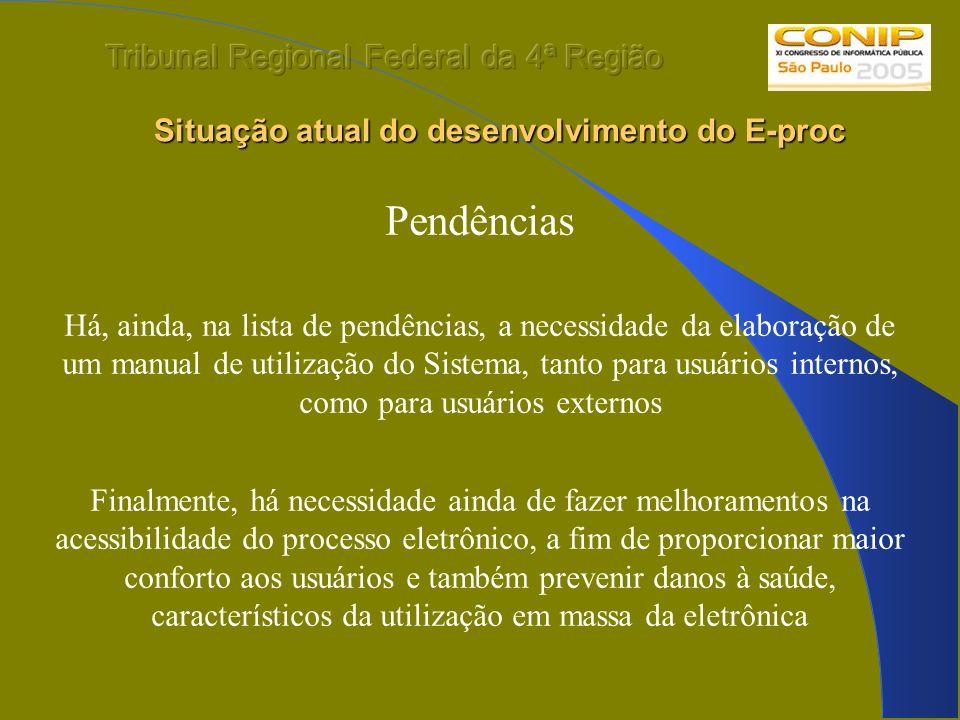 Situação atual do desenvolvimento do E-proc Situação atual do desenvolvimento do E-proc Pendências Há, ainda, na lista de pendências, a necessidade da