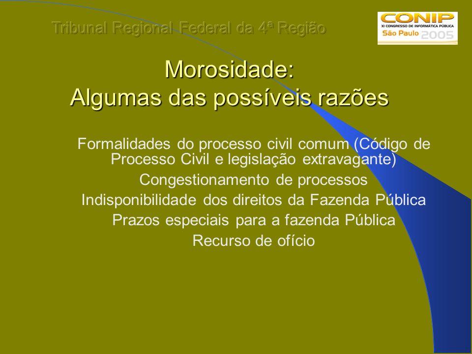 Morosidade: Algumas das possíveis razões Formalidades do processo civil comum (Código de Processo Civil e legislação extravagante) Congestionamento de
