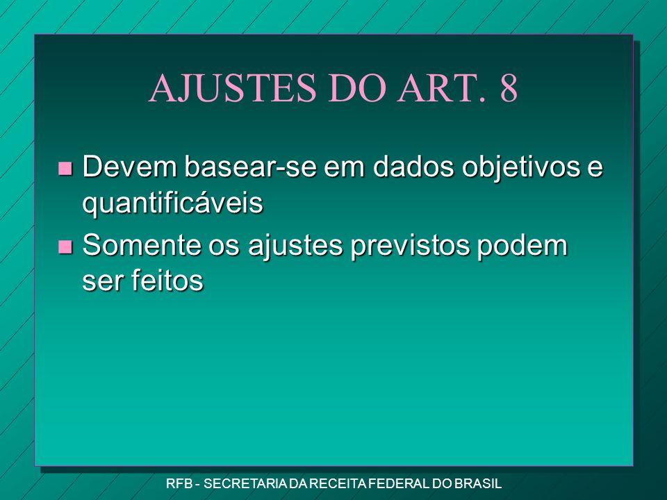 RFB - SECRETARIA DA RECEITA FEDERAL DO BRASIL AJUSTES DO ART.