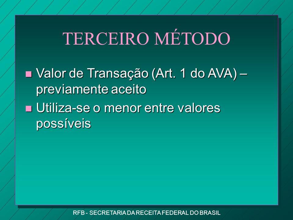 RFB - SECRETARIA DA RECEITA FEDERAL DO BRASIL TERCEIRO MÉTODO n Valor de Transação (Art.