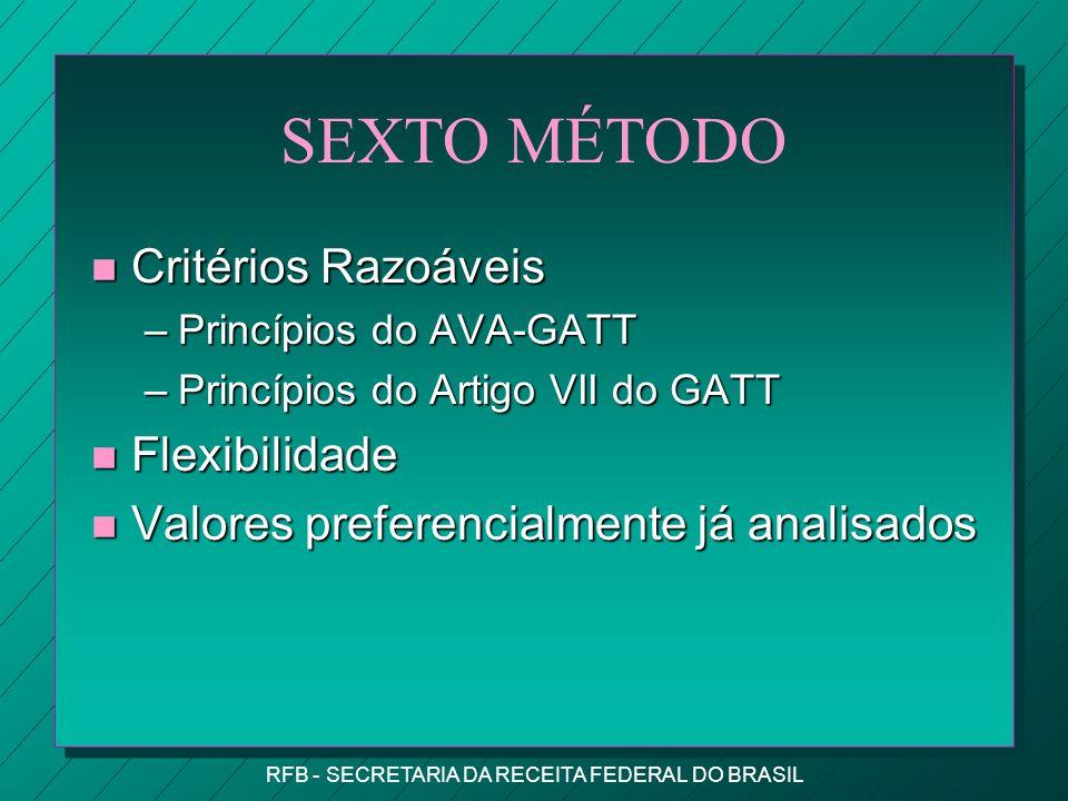 RFB - SECRETARIA DA RECEITA FEDERAL DO BRASIL SEXTO MÉTODO n Critérios Razoáveis –Princípios do AVA-GATT –Princípios do Artigo VII do GATT n Flexibilidade n Valores preferencialmente já analisados