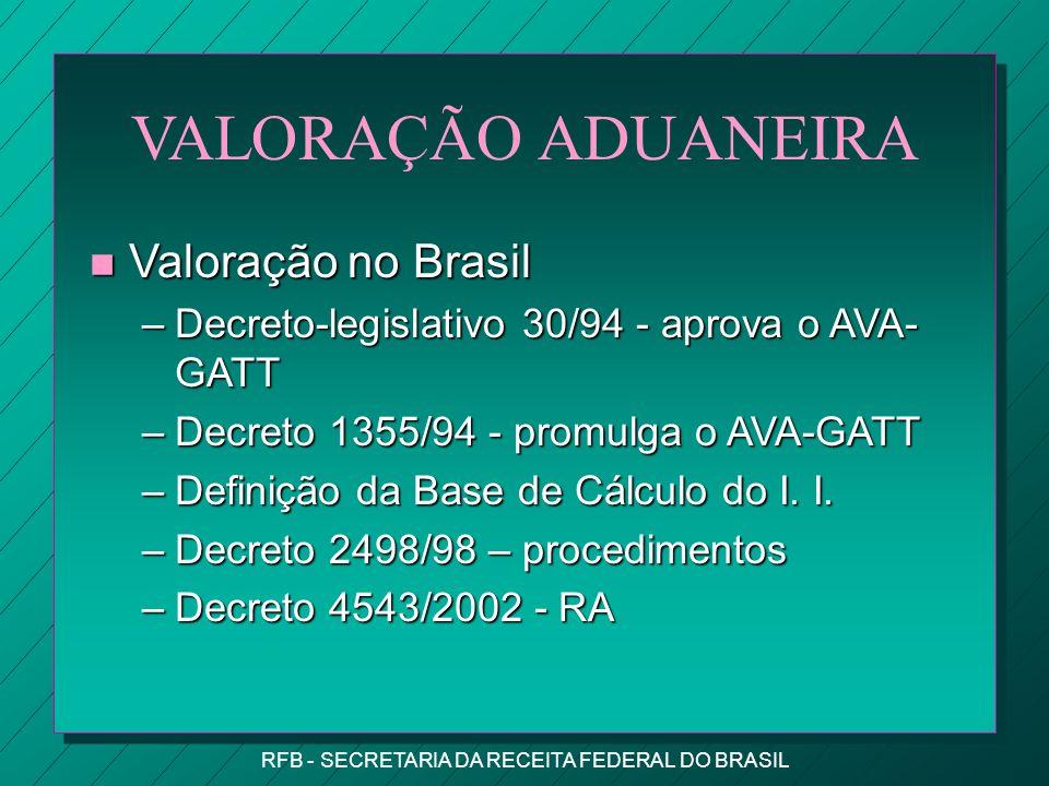 RFB - SECRETARIA DA RECEITA FEDERAL DO BRASIL VALORAÇÃO ADUANEIRA n Valoração no Brasil –Decreto-legislativo 30/94 - aprova o AVA- GATT –Decreto 1355/94 - promulga o AVA-GATT –Definição da Base de Cálculo do I.
