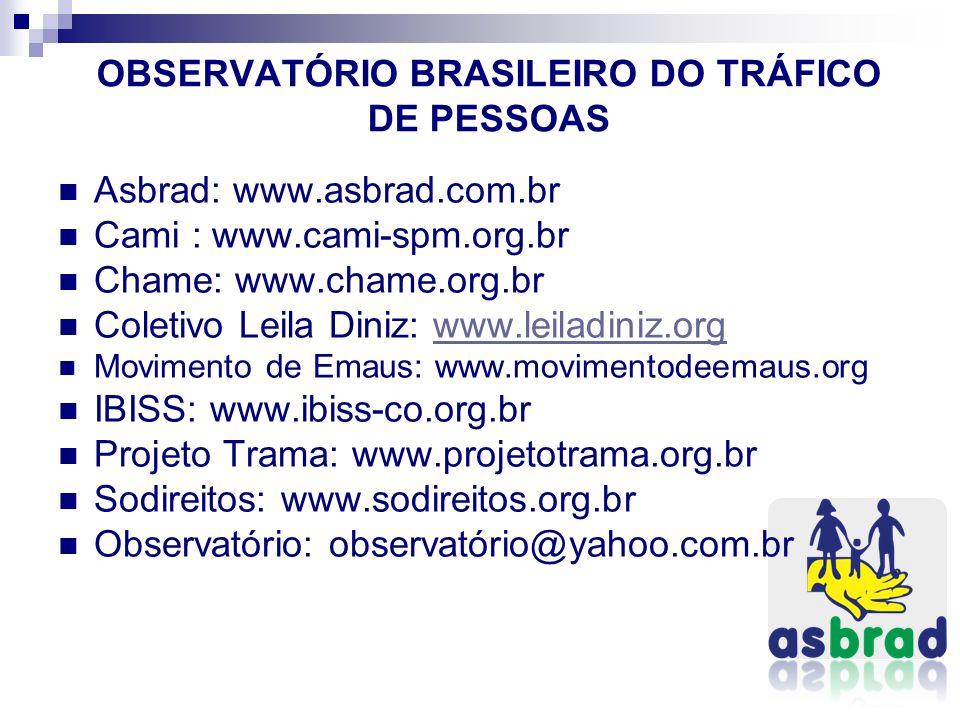 OBSERVATÓRIO BRASILEIRO DO TRÁFICO DE PESSOAS Asbrad: www.asbrad.com.br Cami : www.cami-spm.org.br Chame: www.chame.org.br Coletivo Leila Diniz: www.l