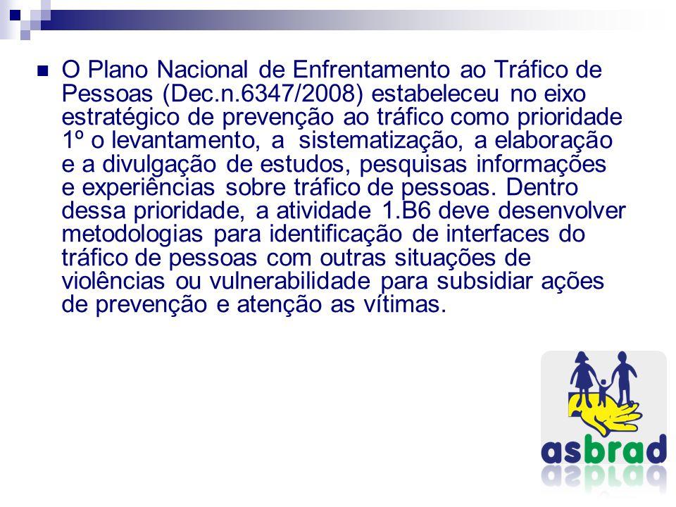 O Plano Nacional de Enfrentamento ao Tráfico de Pessoas (Dec.n.6347/2008) estabeleceu no eixo estratégico de prevenção ao tráfico como prioridade 1º o