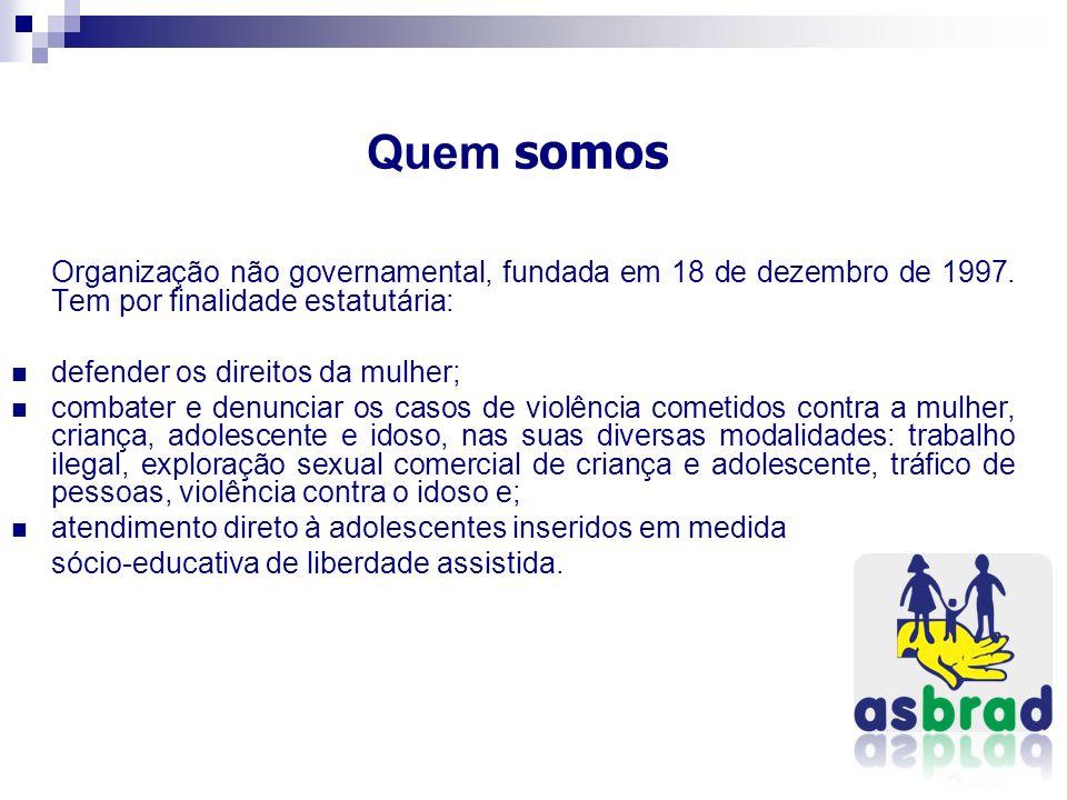 Quem somos Organização não governamental, fundada em 18 de dezembro de 1997. Tem por finalidade estatutária: defender os direitos da mulher; combater
