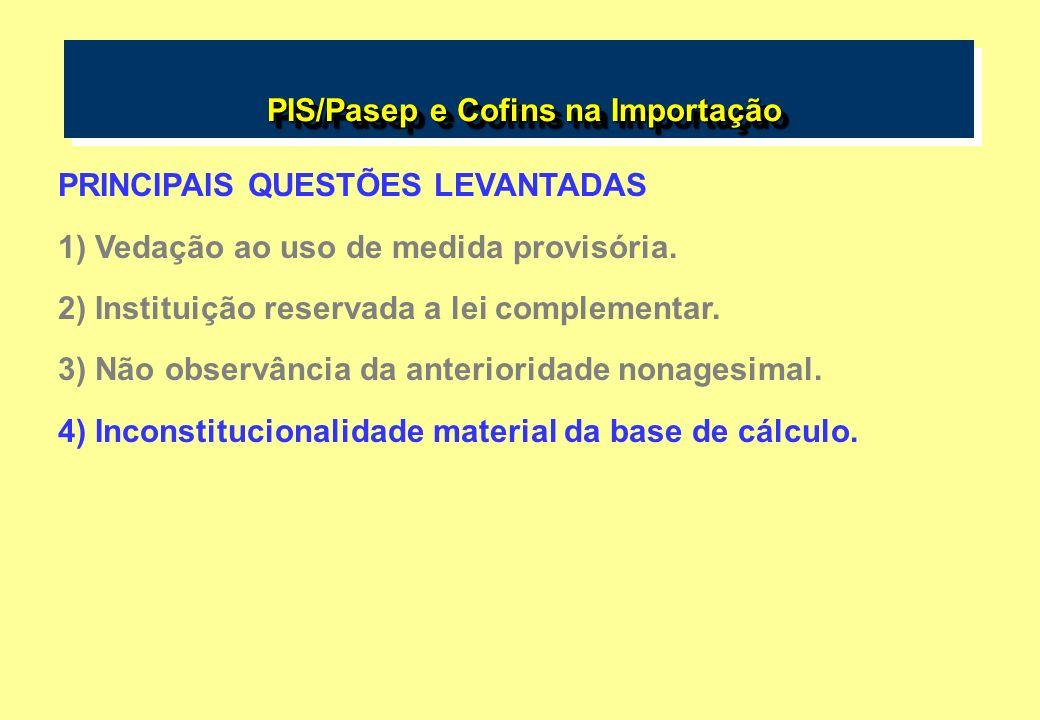 PIS/Pasep e Cofins na Importação PIS/Pasep e Cofins na Importação PRINCIPAIS QUESTÕES LEVANTADAS 1) Vedação ao uso de medida provisória.