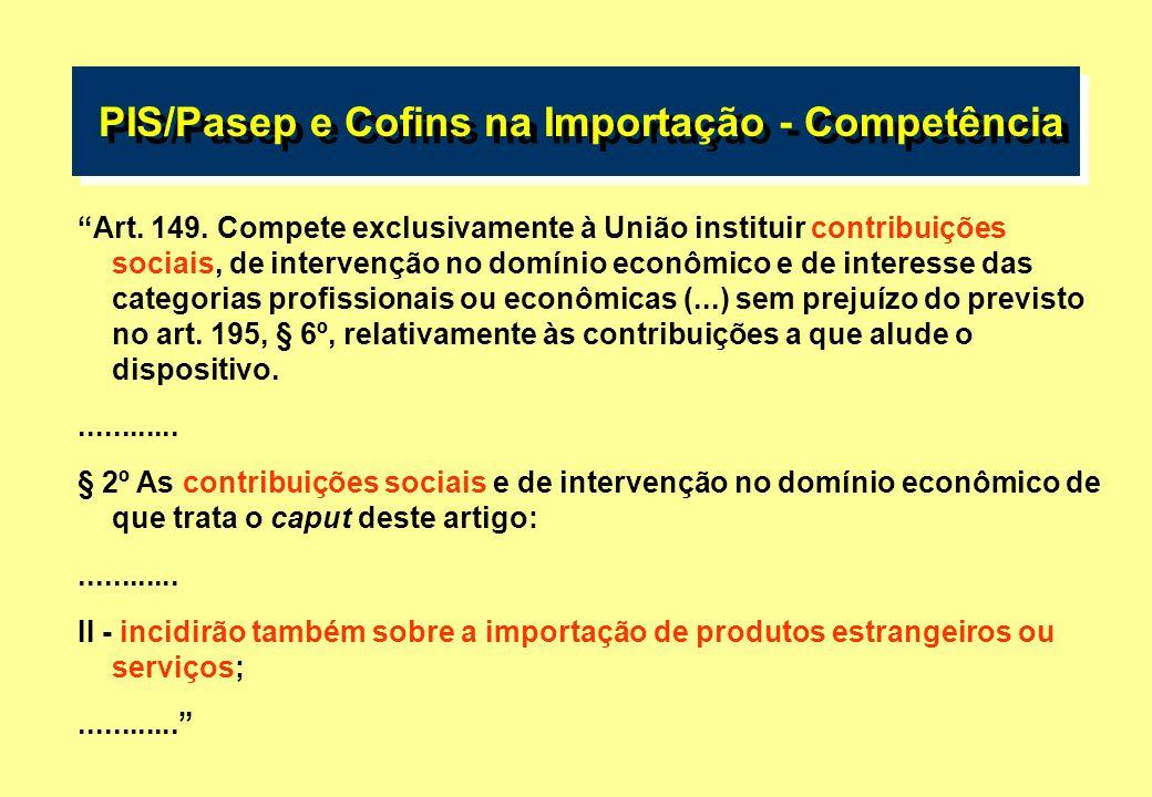 PIS/Pasep e Cofins na Importação PIS/Pasep e Cofins na Importação PRINCIPAIS QUESTÕES LEVANTADAS 2) Instituição reservada a lei complementar.