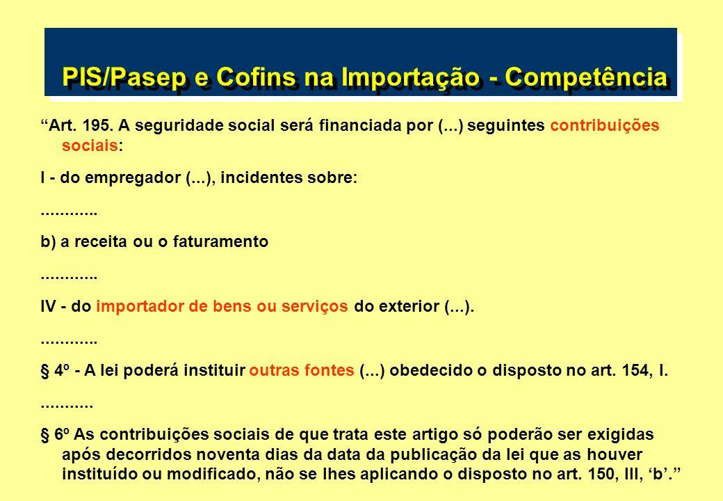 PIS/Pasep e Cofins na Importação - Competência Art. 195. A seguridade social será financiada por (...) seguintes contribuições sociais: I - do emprega