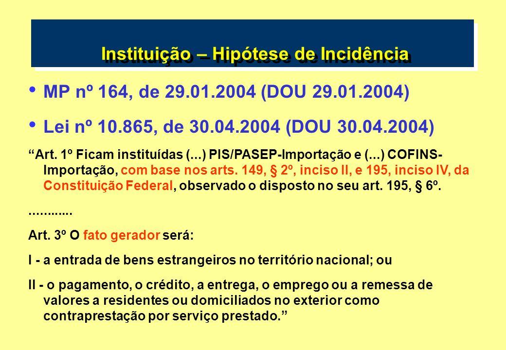 Instituição – Hipótese de Incidência MP nº 164, de 29.01.2004 (DOU 29.01.2004) Lei nº 10.865, de 30.04.2004 (DOU 30.04.2004) Art. 1º Ficam instituídas