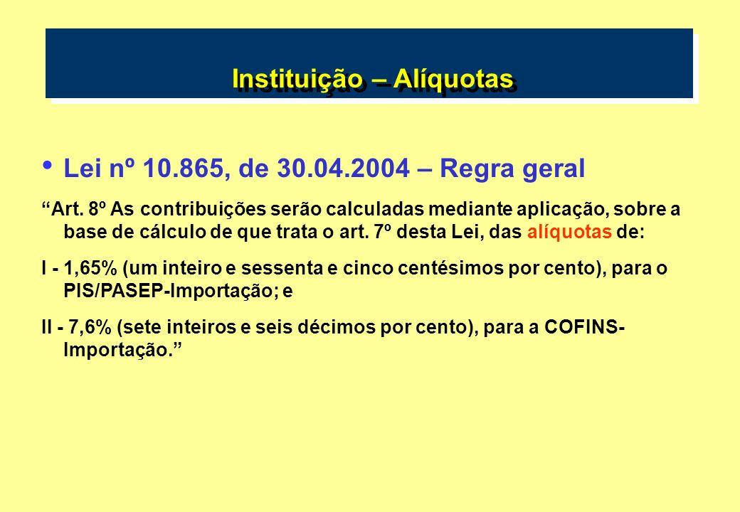 Instituição – Alíquotas Lei nº 10.865, de 30.04.2004 – Regra geral Art. 8º As contribuições serão calculadas mediante aplicação, sobre a base de cálcu