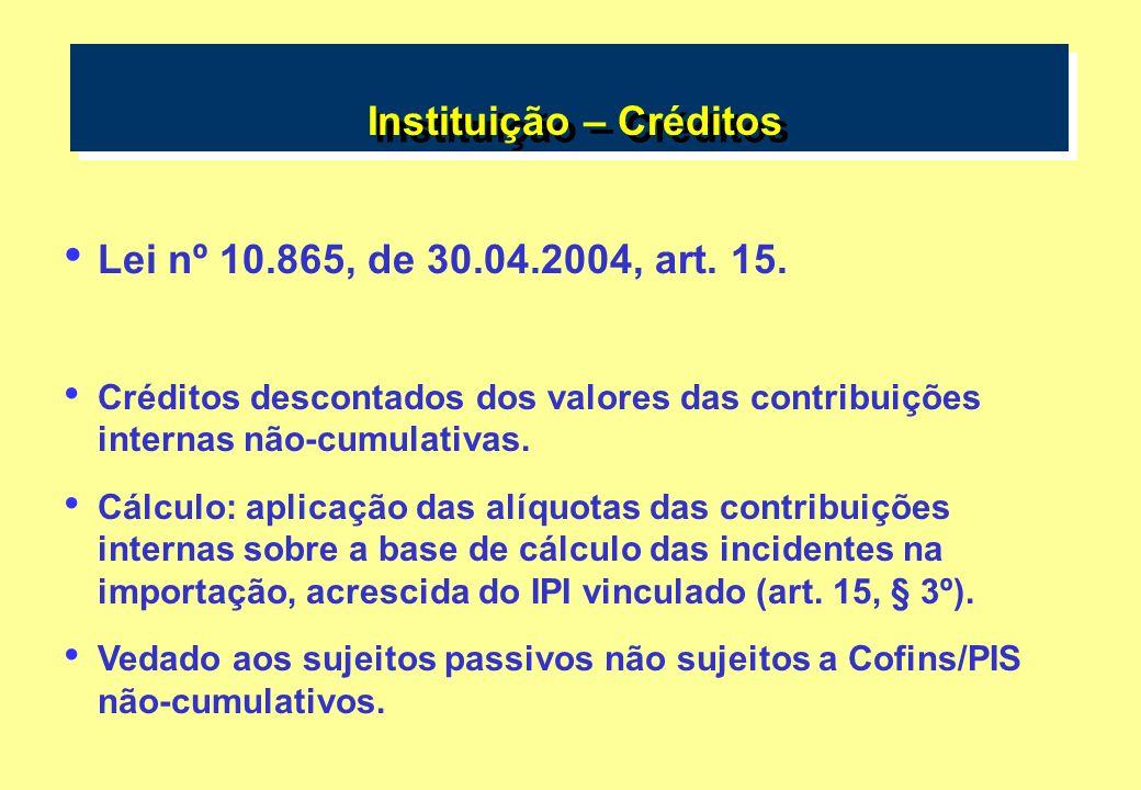 Instituição – Créditos Lei nº 10.865, de 30.04.2004, art. 15. Créditos descontados dos valores das contribuições internas não-cumulativas. Cálculo: ap