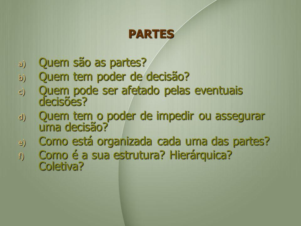 PARTES a) Quem são as partes.b) Quem tem poder de decisão.