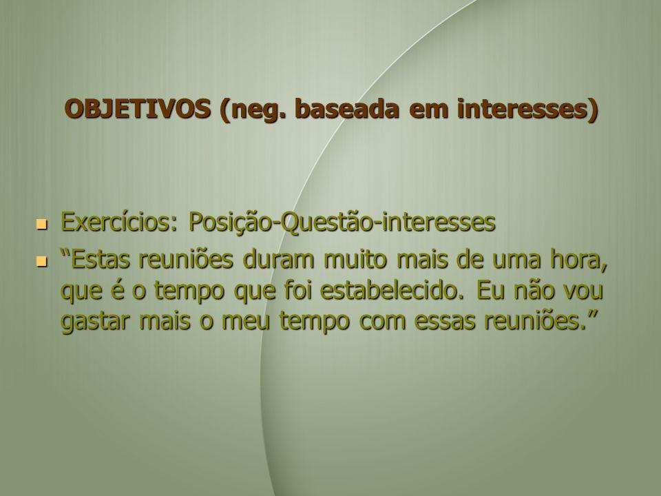 OBJETIVOS (neg. baseada em interesses) Exercícios: Posição-Questão-interesses Exercícios: Posição-Questão-interesses Estas reuniões duram muito mais d