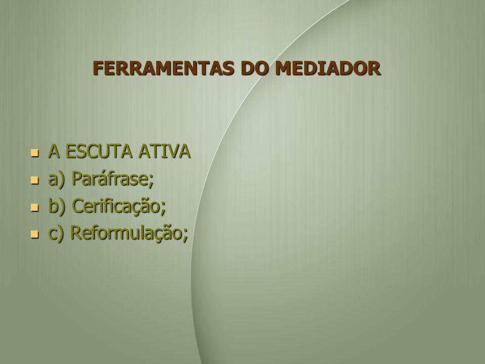 FERRAMENTAS DO MEDIADOR A ESCUTA ATIVA A ESCUTA ATIVA a) Paráfrase; a) Paráfrase; b) Cerificação; b) Cerificação; c) Reformulação; c) Reformulação;