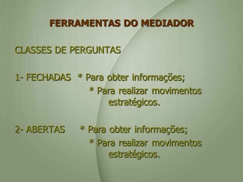 FERRAMENTAS DO MEDIADOR CLASSES DE PERGUNTAS 1- FECHADAS * Para obter informações; * Para realizar movimentos estratégicos. * Para realizar movimentos
