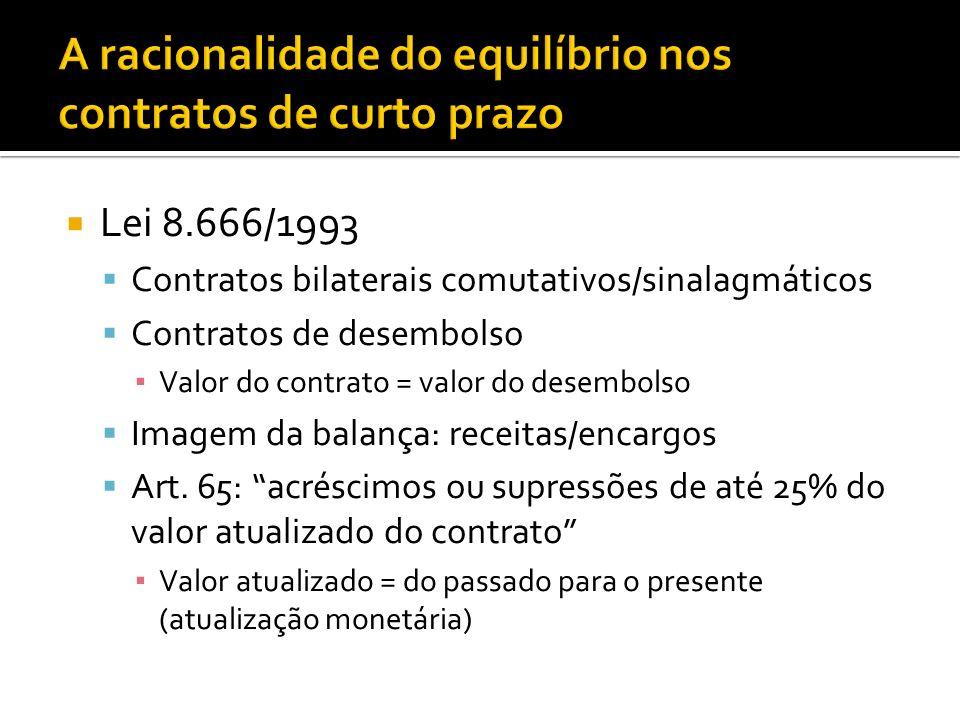 Lei 8.666/1993 Contratos bilaterais comutativos/sinalagmáticos Contratos de desembolso Valor do contrato = valor do desembolso Imagem da balança: receitas/encargos Art.