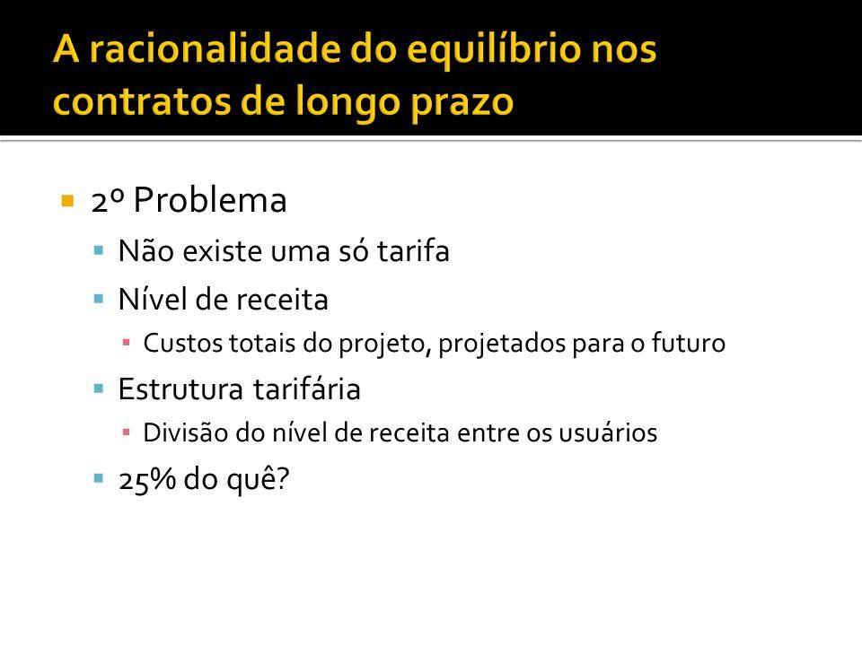 2º Problema Não existe uma só tarifa Nível de receita Custos totais do projeto, projetados para o futuro Estrutura tarifária Divisão do nível de receita entre os usuários 25% do quê