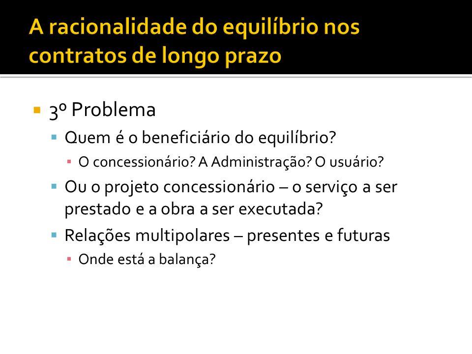 3º Problema Quem é o beneficiário do equilíbrio. O concessionário.