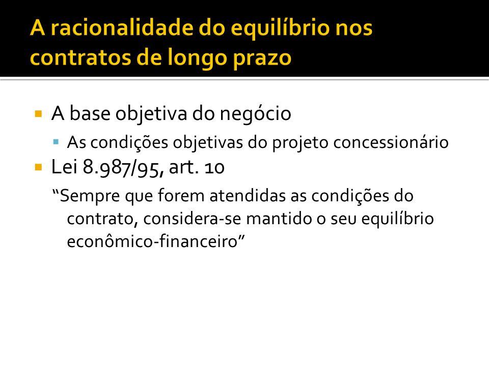 A base objetiva do negócio As condições objetivas do projeto concessionário Lei 8.987/95, art.