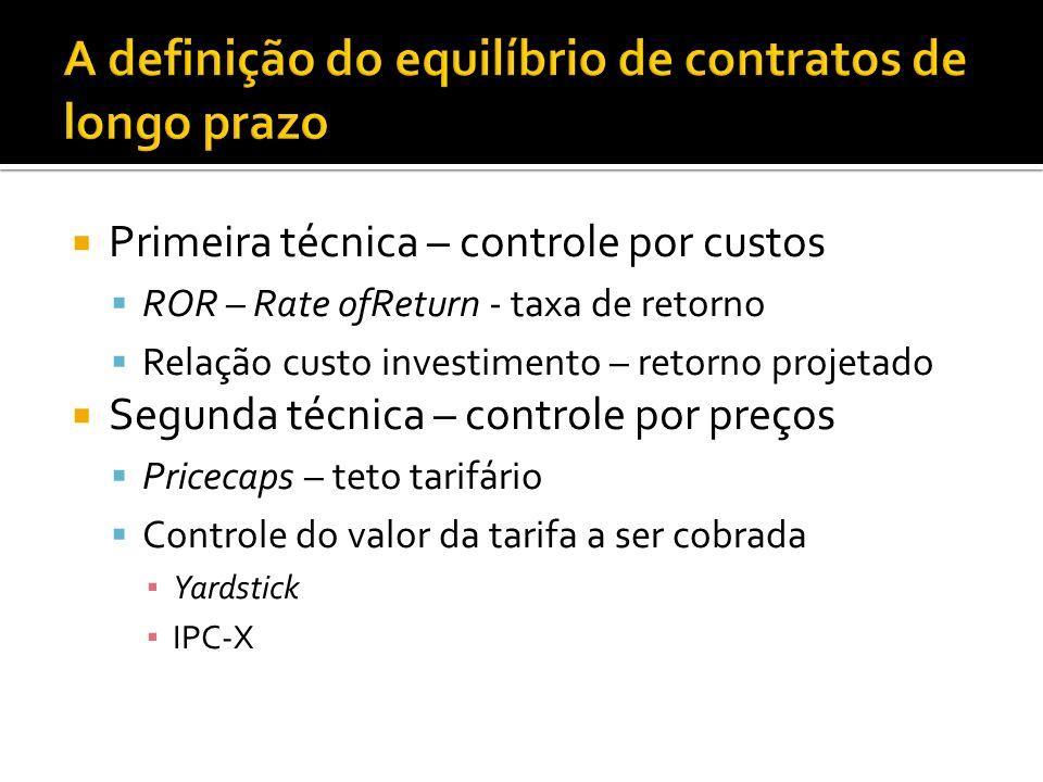 Primeira técnica – controle por custos ROR – Rate ofReturn - taxa de retorno Relação custo investimento – retorno projetado Segunda técnica – controle por preços Pricecaps – teto tarifário Controle do valor da tarifa a ser cobrada Yardstick IPC-X