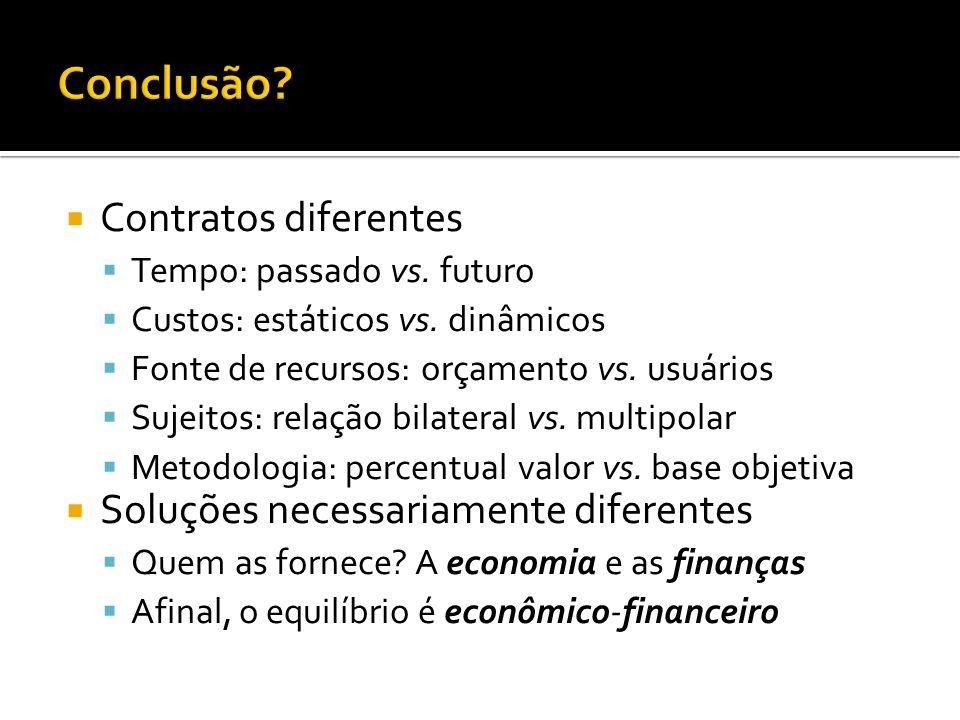 Contratos diferentes Tempo: passado vs. futuro Custos: estáticos vs.