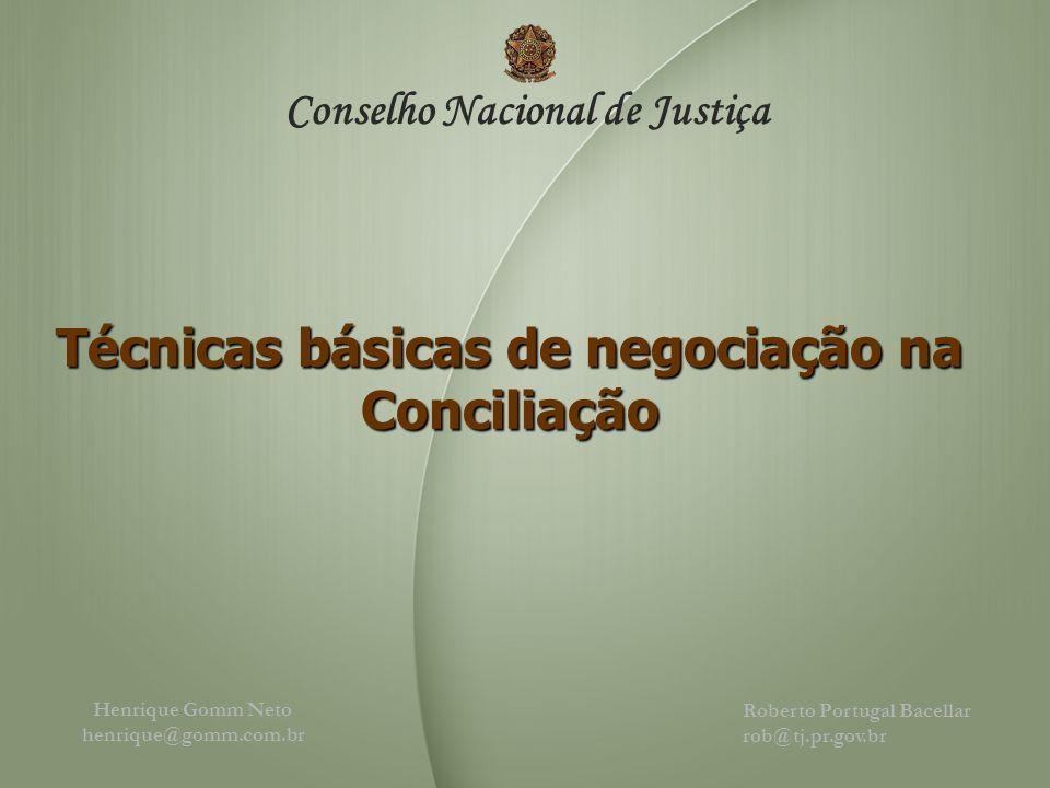 Henrique Gomm Neto henrique@gomm.com.br Conselho Nacional de Justiça Roberto Portugal Bacellar rob@tj.pr.gov.br Técnicas básicas de negociação na Conciliação