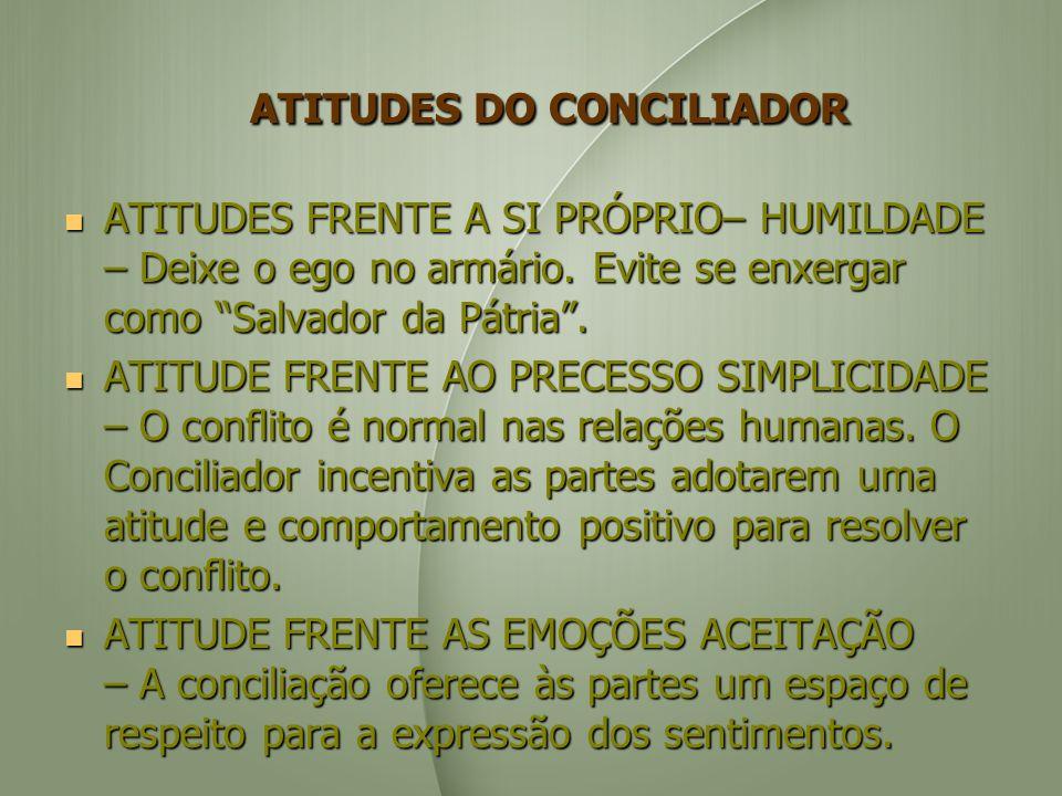 ATITUDES DO CONCILIADOR ATITUDES DO CONCILIADOR ATITUDES FRENTE A SI PRÓPRIO– HUMILDADE – Deixe o ego no armário.