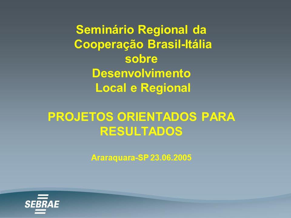 Seminário Regional da Cooperação Brasil-Itália sobre Desenvolvimento Local e Regional PROJETOS ORIENTADOS PARA RESULTADOS Araraquara-SP 23.06.2005