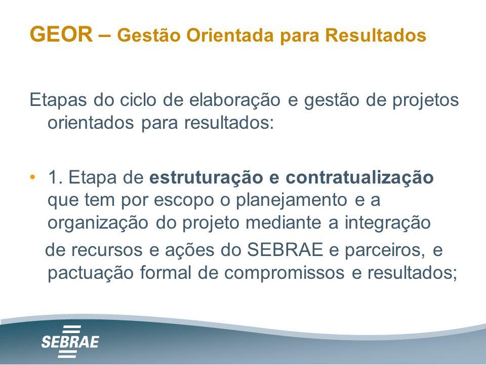 GEOR – Gestão Orientada para Resultados Etapas do ciclo de elaboração e gestão de projetos orientados para resultados: 1.