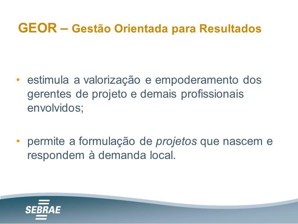 GEOR – Gestão Orientada para Resultados estimula a valorização e empoderamento dos gerentes de projeto e demais profissionais envolvidos; permite a formulação de projetos que nascem e respondem à demanda local.